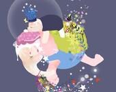 Children's elephant wall art, fairytale bear print, girls princess bedroom artwork - 'Kisses and Wishes' by Schmooks
