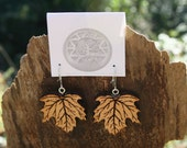Wood Leaf Earrings- Maple Leaf Earrings in Juniper Wood- Wooden Earrings- Wooden Jewelry, Boho Jewelry