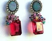Australian Black Opal Earring, Sapphire Gemstone Cluster, Diamond Bezel Style, Pink Tourmaline Quartz Earrings