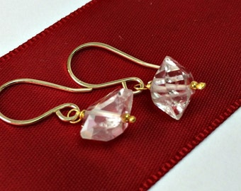 Herkimer Diamond Earrings Quartz Gemstone Wire Wrap Sterling Silver 14k Gold Filled Gift For Her, Minimalist Jewelry