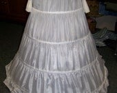 "Petticoat 4 Bone Hoop, WHITE Nylon, ajustable 100"" to 120"" circle x 37"" long Steel Boning Draw String waist 12"" to 50"""
