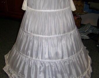 "Petticoat 4 Bone Hoop, WHITE Nylon, ajustable 100"" to 120"" circle x 37"" long Steel Boning Draw String waist 12"" to 50"""