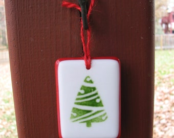 Green Christmas Tree With Red Border Fused Glass Ornament