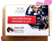 Valentine - Love you to the Moon and Back - Love, Science, Nerd, Geekery, Card, Valentine, Teacher, Valentines for him, for her
