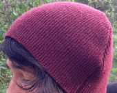 dark burgundy recycled sweater hat