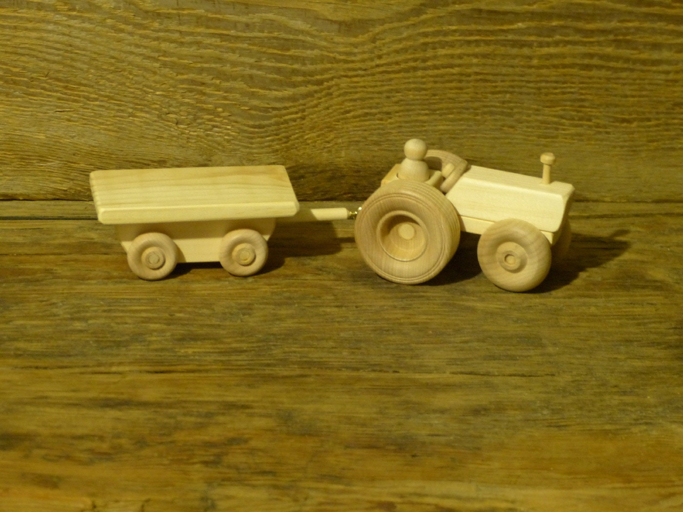 Wood Toy Farm Tractor and Wagon Wooden Toys by OutOnALimbADK