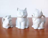 Vintage Cat Trio, Sugar Bowl, Creamers, Ceramic White Jars