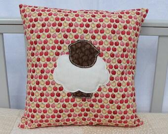 Lamb Appliqué Cushion, Nursery Cushion, Apple Print Cushion, Baby Shower Gift, Toddler Cushion,