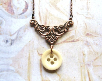 Halcyon Days - Vintage Bone Button and Ornate Antiqued Copper Handmade Necklace