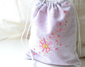 Pink Flowers Keepsake Drawstring Bag - Handmade, Hand Embroidered OOAK - for Travel, Tarot, iPod, Free US Shipping, Fully Lined, Wristlet