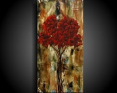 Christian Art ~ Modern Religious Art ~ Abstract Painting ~ Encaustic Art ~ Modern Painting ~ THE RAW CANVAS Red Tree Painting Outsider Art