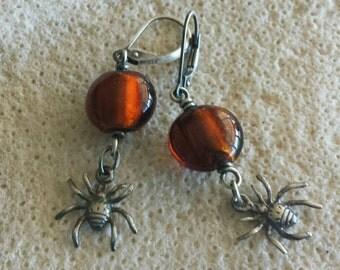 Itsy Bitsy Spider Halloween Creepy Crawly Spider Moon Earrings - Handmade