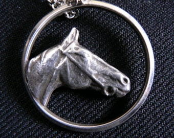 Sterling Silver Sand Cast Horse Head Pendent