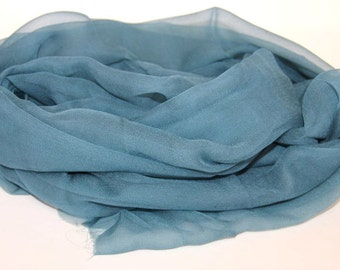 Teal Blue Silk Chiffon Gauze - Hand Dyed Silk - Great Gift for Her - Felting Supplies - Photo prop, Infant wrap