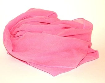"""Pink Silk Scarf - Pink Chiffon Silk - Great Gift - 14""""x72"""" - Low Shipping Costs - Felting Supplies"""