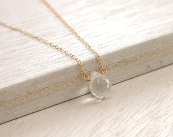 Crystal Quartz Gold Necklace .Crystal Quartz Goldfilled Necklace . delicate layering necklace
