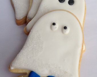 GHOST SUGAR COOKIES, Halloween Sugar Cookie Party Favors, 1 Dozen