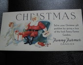 Vintage Fanny Farmer Candies Christmas Blotter With Santa Claus and Child, Good Condition