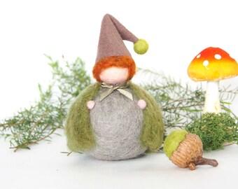 Harvest Felted Waldorf Gnome Toy, Needle Felted Christmas Doll, Felt Waldorf Elf Miniature, Rustic Woodland Home Decor