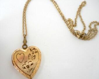 Vintage Gold Filled Heart Locket Etched Design Double Picture Locket Necklace