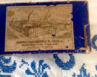 Antique box - Rosengarten & son's manufacturing Chemists, Philadelphia  - Quiniae Sulphas Advertising
