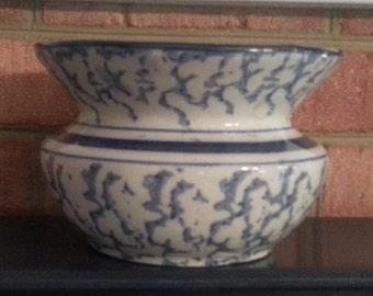 Antique Stoneware Pottery Spittoon Blue Spongeware Spatterware Cuspidor