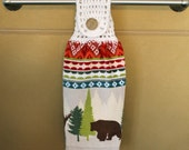 Reindeer and Bear Crocheted Top Towel/no border-HO58