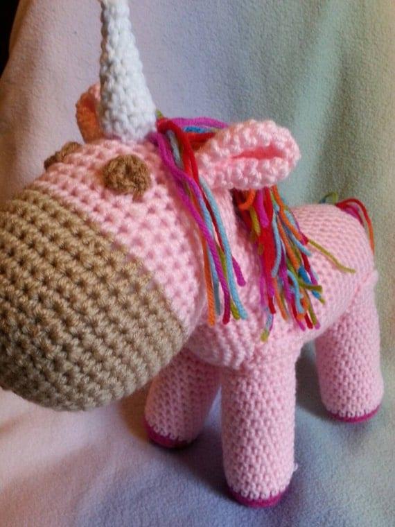 Crochet Unicorn Hair : Crochet stuffed unicorn standing amigurumi by crysbritescloset