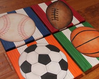 "You will receive 4 12"" x 12"" Custom Wall Art Sports Baseball Soccer Golf Basketball Football Hockey Canvas Boys Bedding Room Decor"