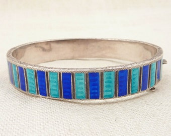 Antique Enameled Engraved Sterling Bracelet