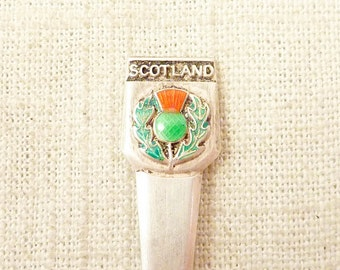 SALE ---- Vintage S.J.R. British Sterling Scotland Green and Red Enamel Thistle Souvenir Spoon