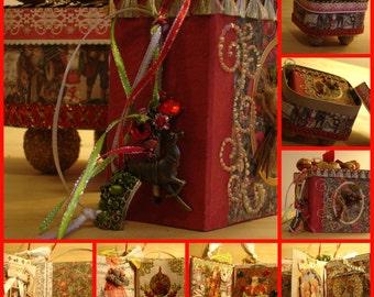 Nostalgic Christmas Mini Photo Album with Ornate Storage Chest Handmade OOAK