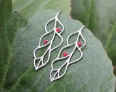 Siam Ruby Matte Silver Leaves Earrings - leaf outlines with red crystals - also in gold or black - free shipping USA