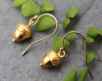 Small Gold Acorn Earrings - Achievement and Success  -oak, woodland - 14k gold filled ear wires, 24k gold plated charms - free shipping USA