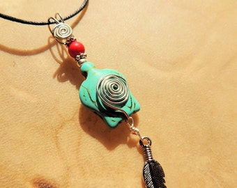 Turtle Pendant, Native Style Jewelry, Turquoise and Red, Feather Pendant, Unisex Jewelry, Handcrafted Jewelry, Boho Jewelry, Gift under 20