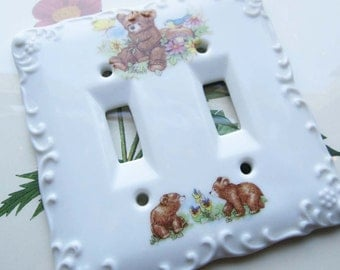 Vintage Child's Light Switch Plate Summer Sale Item * Double Light Switch * Vintage Kids * Childs Room Decor