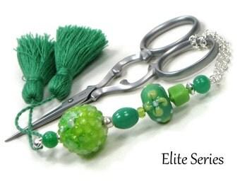 Scissor Fob Beaded Scissor Keeper Scissor Minder Elite Series Green Lime Flower Needlepoint Quilting Sewing Cross Stitch