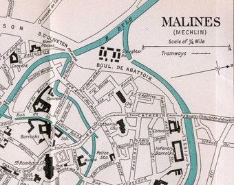 Ca. 1926 Vintage Map of Malines (Mechelen), Belgium - Vintage City Map - Old City Map