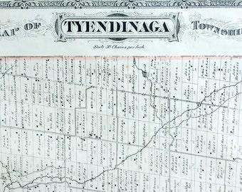 1878 Antique Map of Tyendinaga Township, Ontario, Canada - Large hand-coloured map