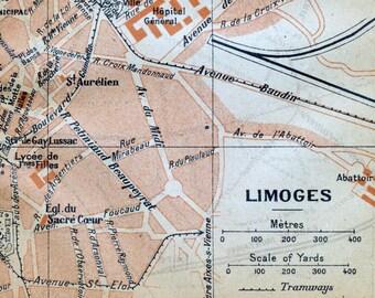 1926 Vintage Map of Limoges, France - Vintage City Map - Old City Map