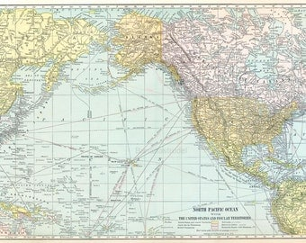 1919 Large Vintage Map of the North Pacific Ocean, United States, and Insular Territories - Antique US Map
