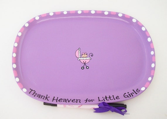 Ceramic Signature  Plate to Welcome New BABY GIRL - Baby Shower Guest Book Alternative