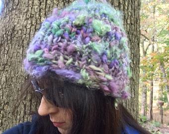 Purple Green Sparkle Handspun Knit Winter Hat for Women
