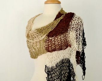 Knit Shawl Wrap, Large Summer Scarf, Chocolate Brown