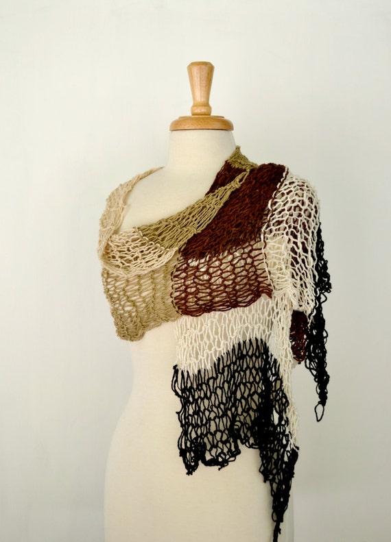 Knit Shawl Wrap, Large Summer Scarf, Chocolate Brown