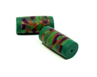 Handmade Chunky Polymer Clay Tube Beads - Sold in Sets of 2