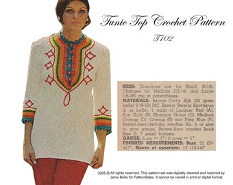 70s Summer Tunic Top Pattern Retro Knitting Pattern Vintage PDF instant download T102