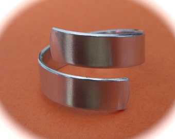 "1 - STERLING RAW Wrap or Twist Ring Blank 18 Gauge 1/4"" Width  -  1 Flat Blank with rounded ends - Choose your length"