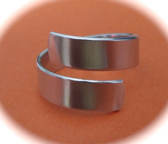 """1/4"""" Ring Blank STERLING Wrap or Twist Ring Blank 18 Gauge .925 1 Flat Blank with rounded ends - Choose your length"""