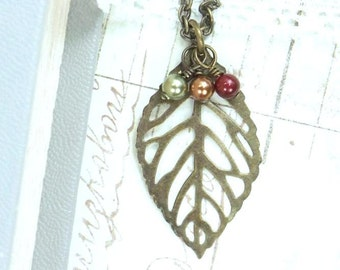 Large Leaf Jewelry Fall Necklace Woodland Jewelry Antiqued Brass Leaf Necklace Large Leaf Pendant